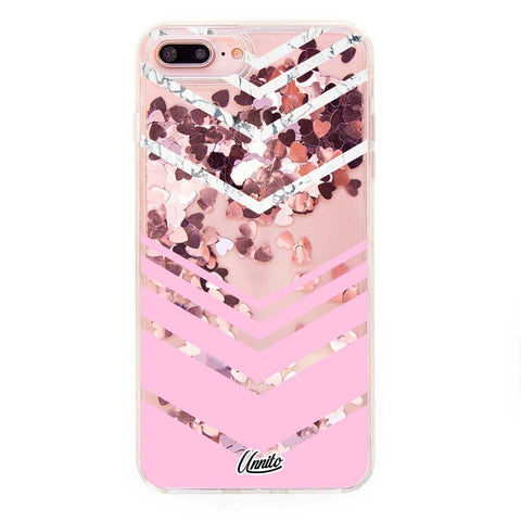 Liquid Glitter iPhone 7 Case Clear Marble Crema -  Pink Hearts