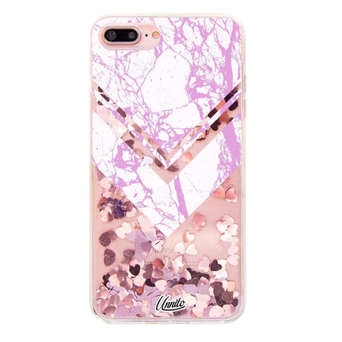 Liquid Glitter iPhone 7 Case Clear Marble Pink Chevron -  Pink Hearts