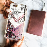 Liquid Glitter iPhone 6 Case Marble Carrera White - Pink Hearts