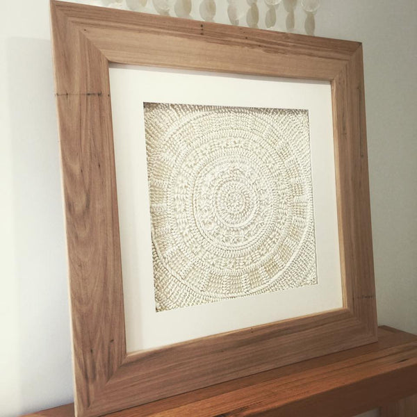 Hand Made Timber Framed Shell Wall Hanging Art
