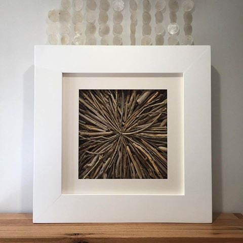 Framed Driftwood Wall Hanging Art Indoor Outdoor