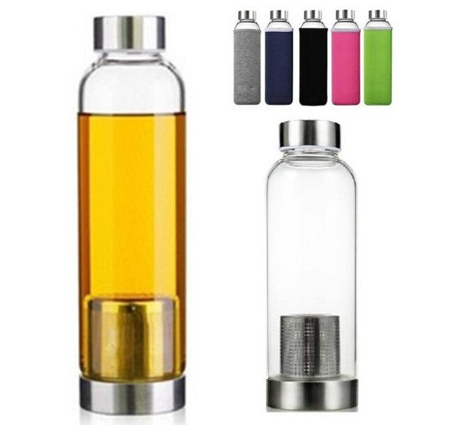 On-the-go Travel water/tea Glass Bottle w infuser