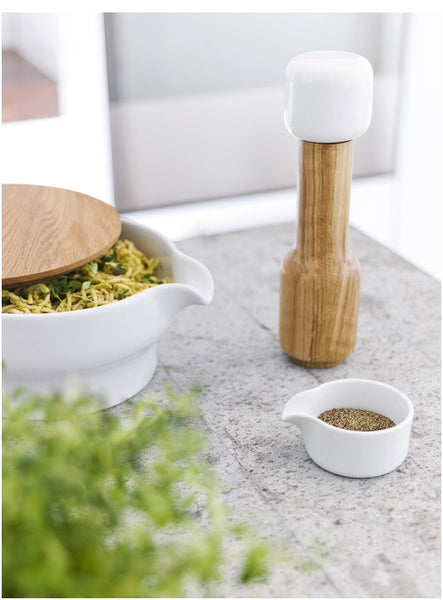 Salt or Pepper Mill with Ceramic Dish