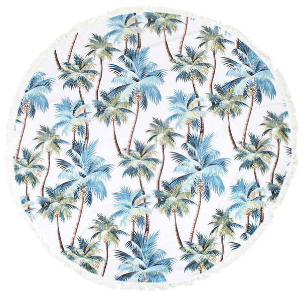 Tropical Round Beach Towel Palm Trees Natural-140cm with Fringe