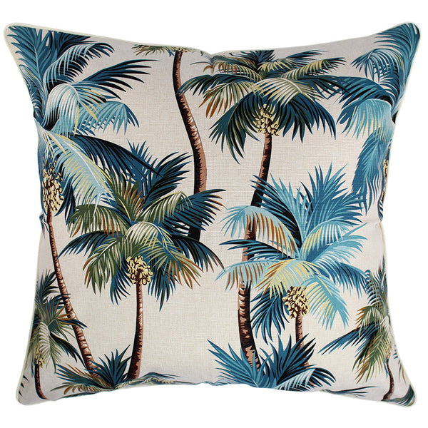 Outdoor Cushion Cove Palm Trees Natural 60cm x 60cm with Piping
