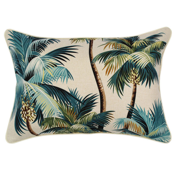 Outdoor Cushion Cove Palm Trees Natural 35cm x 50cm with Piping