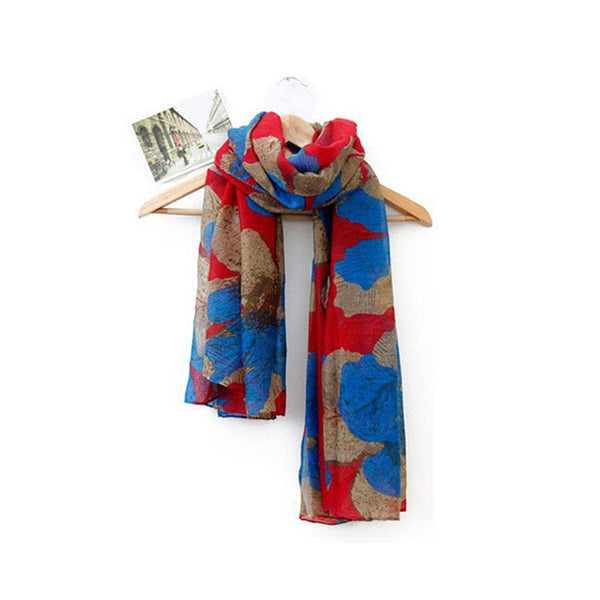 Scarf - Red & Blue Nature