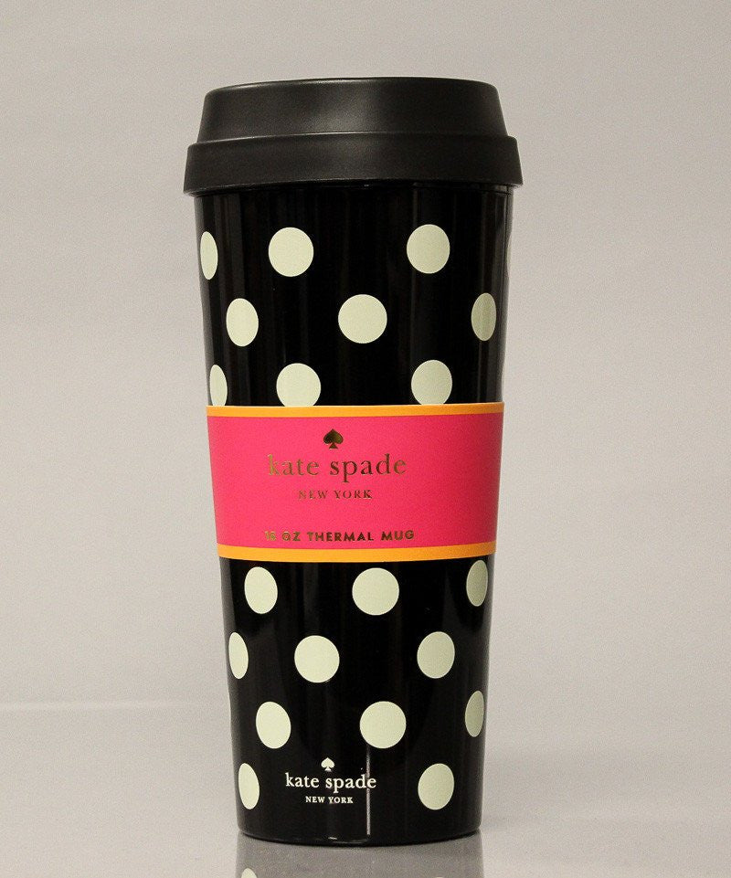 Kate Spade Thermal Mug – Black Dots