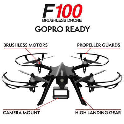 Drone Ghost F100 for Long Range Drone for Beginners and Pros w/ Brushless Motors (Drone Camera Not Included)