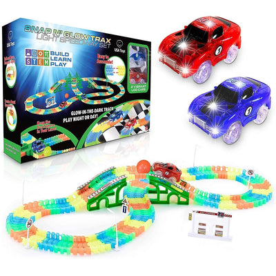 Glow in The Dark Race Car Tracks Flexible Bendable Track Set with Ramps, Bridge, 2 LED Cars (360pk)