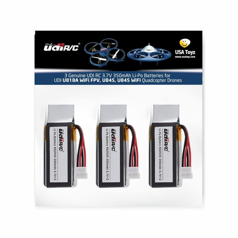 3 Genuine UDI RC 3.7V 350mAh Li-Po Batteries for UDI U818A WiFi FPV Drone