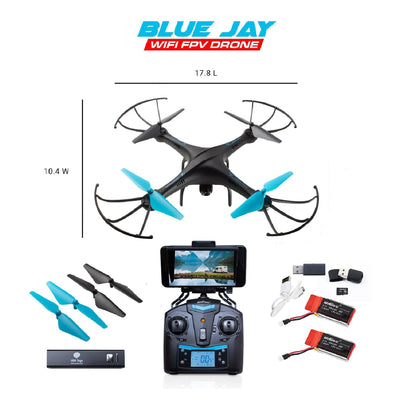 U45WF Blue Jay WiFi FPV Drone with Camera HD VR Drone with 2 Batteries