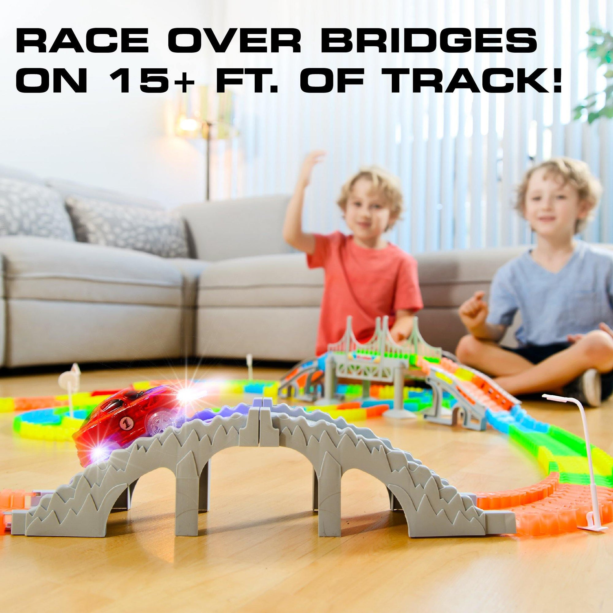 Toy Car Glow Race Track 360 Pc Snap N Glow Trax Force1rc
