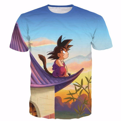 Kid goku sky gazed 3d printed t shirt