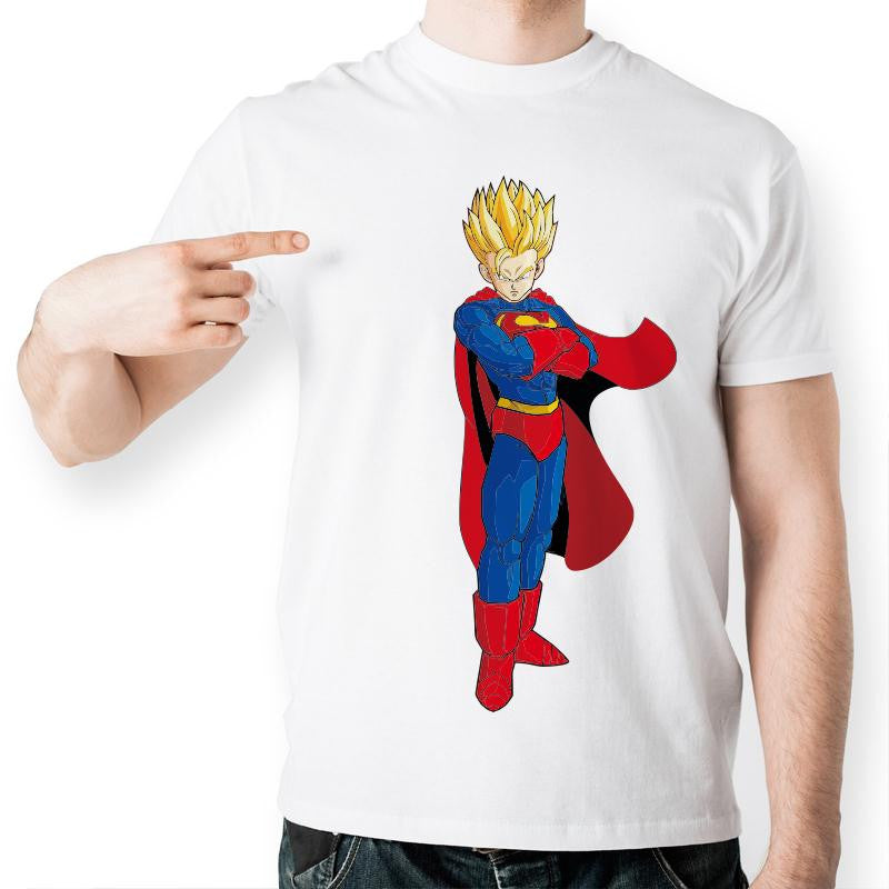 Goku Superman Plain White T shirt