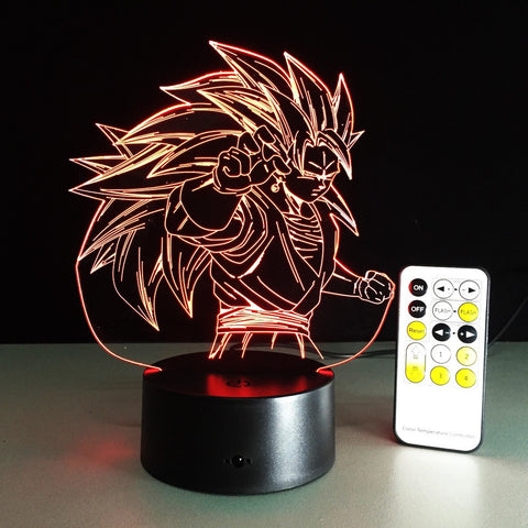 7 color Super saiyan 3 LED Lamp with remote - Dragon ball z Merchandise