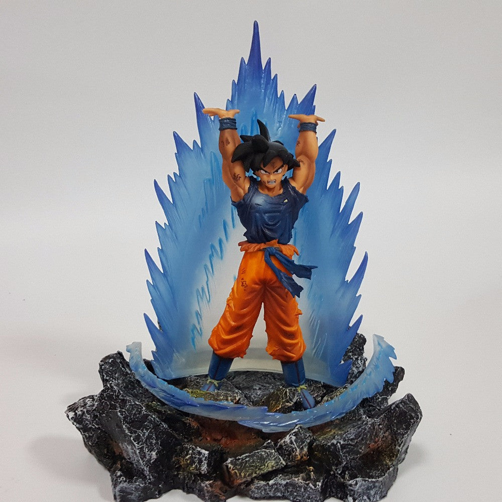 Dragon Ball Z Action Figures Son Goku With Energy Aura and Rock Base - Dragon ball z Merchandise