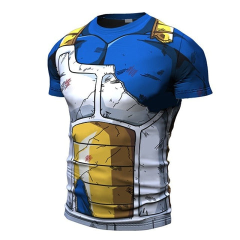 Short Sleeve Battle Damaged Saiyan Armor shirt - Dragon ball z Merchandise