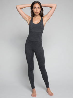Astra Bodysuit, Heather Charcoal - IMBŌDHI Bodysuits