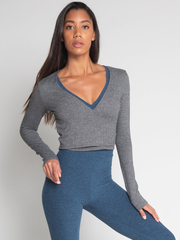 Criss Crop Wrap, Herringbone Grey - IMBŌDHI Bodysuits
