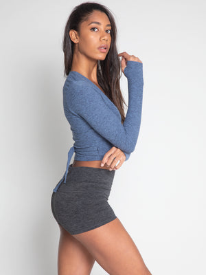 Criss Crop Wrap, Slate Blue - IMBŌDHI Bodysuits