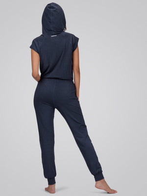 Jane Hooded Jumpsuit, Heather Navy