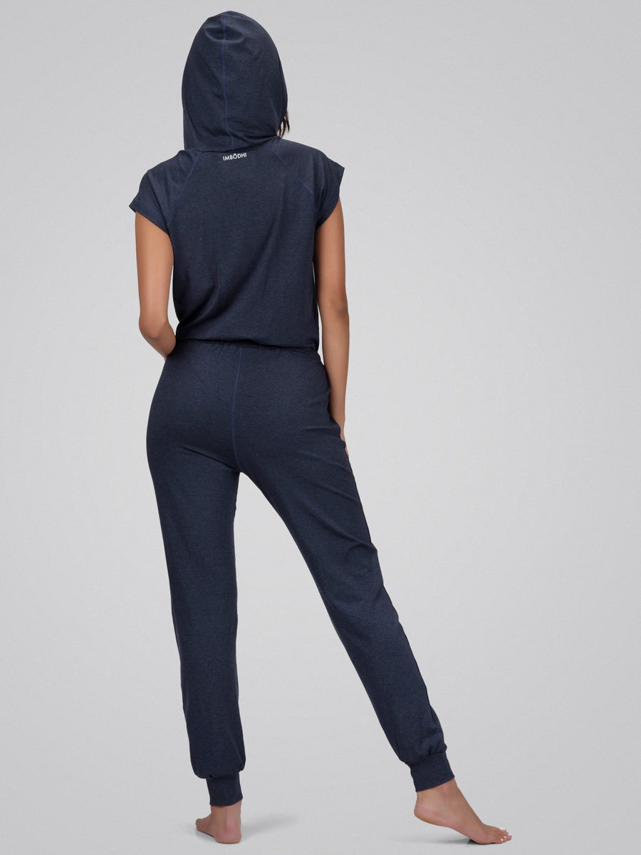 Jane Hooded Jumpsuit, Heather Navy - IMBŌDHI