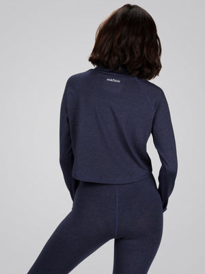 Tara Crop Sweater, Heather Navy - IMBŌDHI