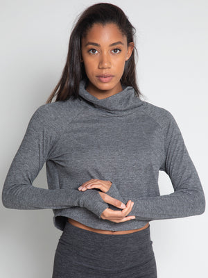 Tara Crop Sweater, Herringbone Grey - IMBŌDHI Bodysuits