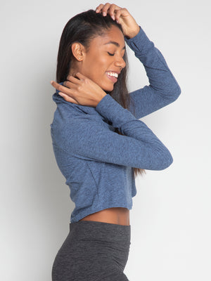 Tara Crop Sweater, Slate Blue - IMBŌDHI Bodysuits