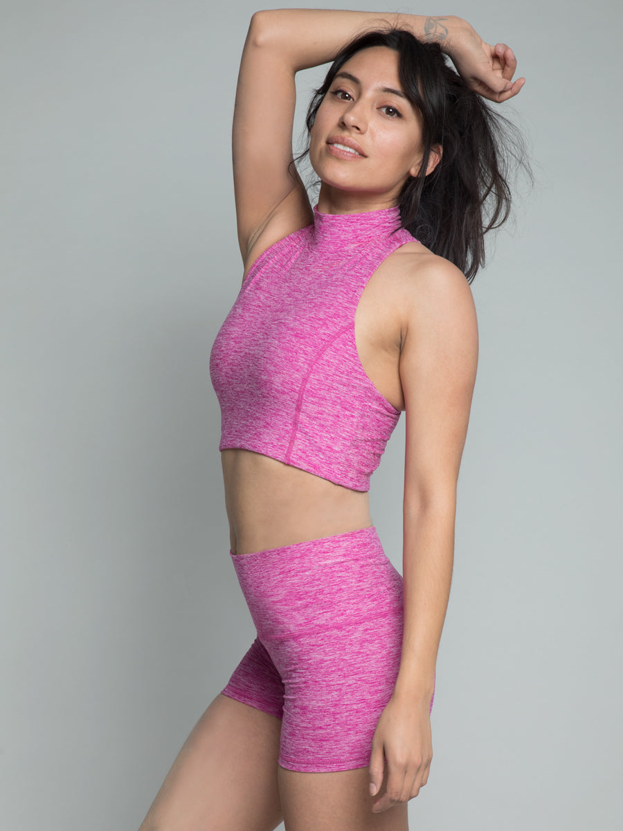 Cari Crop Top, Heather Fuchsia