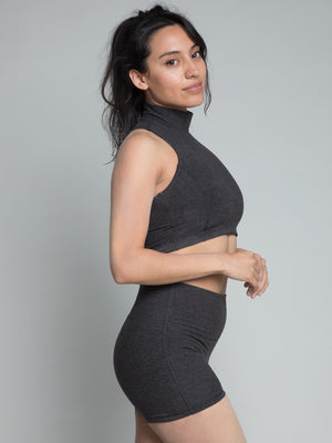 Cari Crop Top, Heather Charcoal