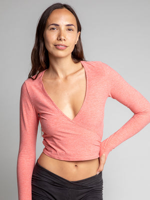 Criss Crop Wrap, Heather Coral - IMBŌDHI Bodysuits