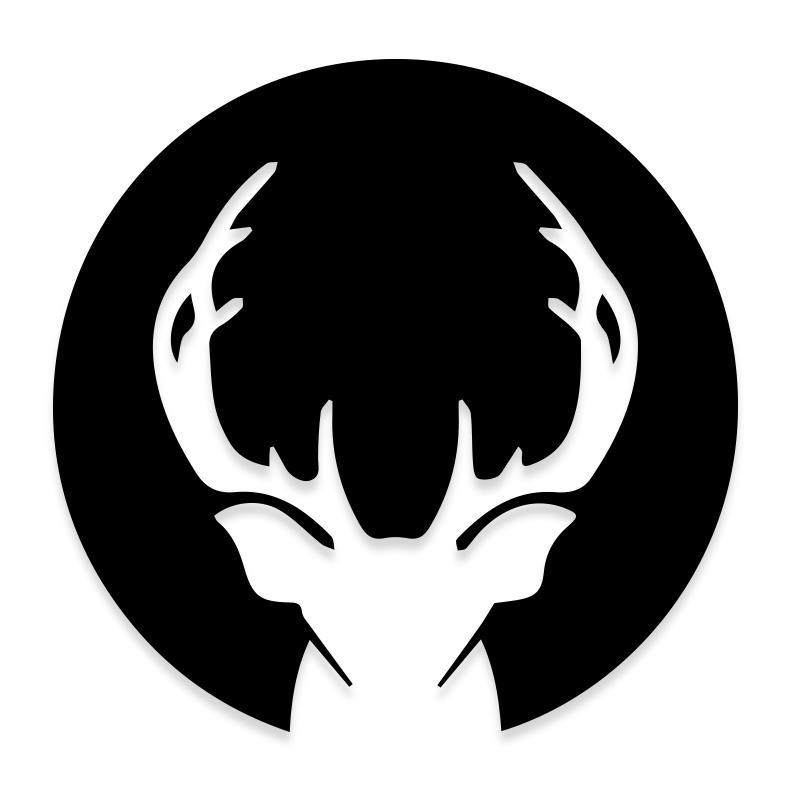 Deer Head Antlers Silhouette Decal Sticker