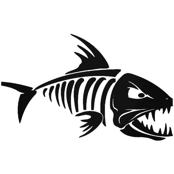 Fish Bones Skeleton Fishing 2 Decal Sticker