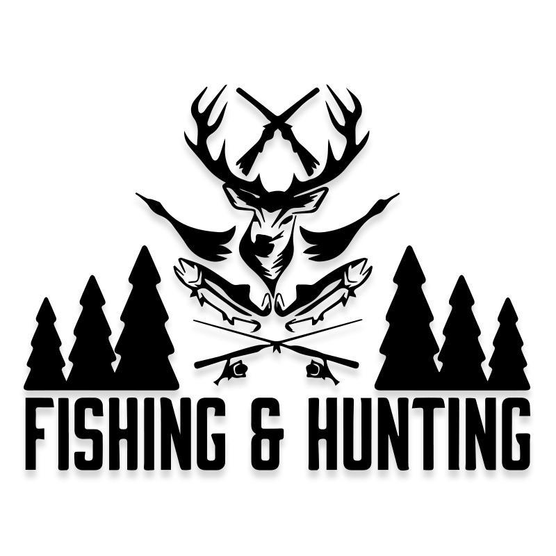 Fishing and Hunting Deer Decal Sticker