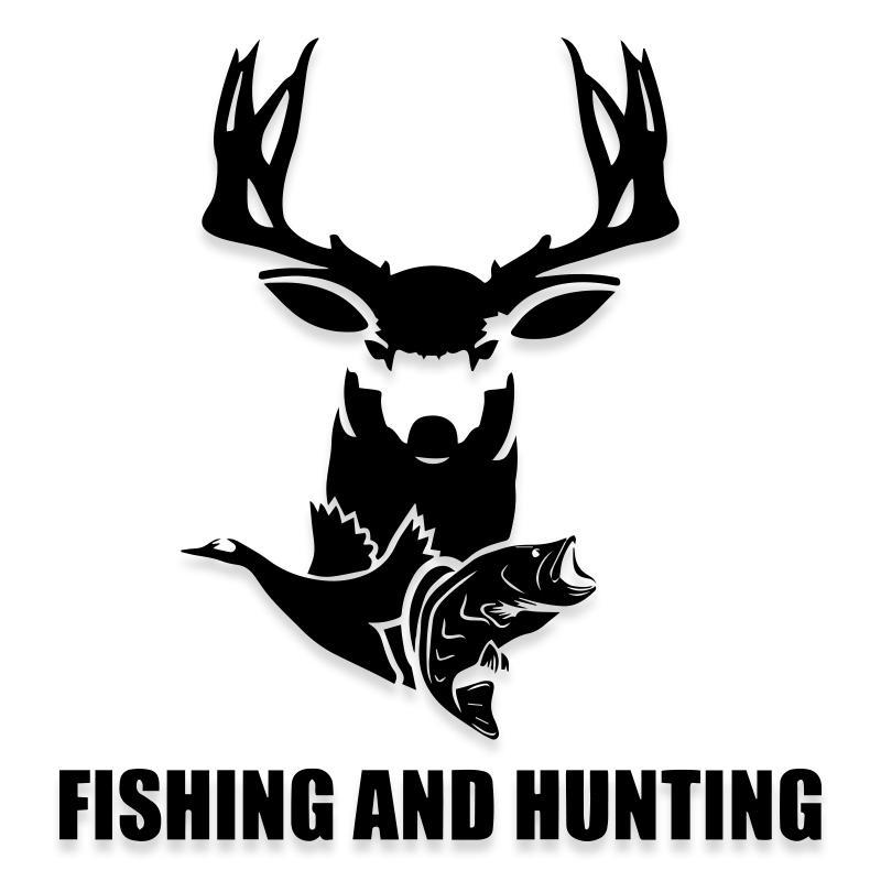 Fishing and Hunting Truck Decal Sticker