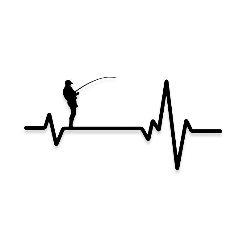 Funny Lifeline Fishing Pulse Decal Sticker