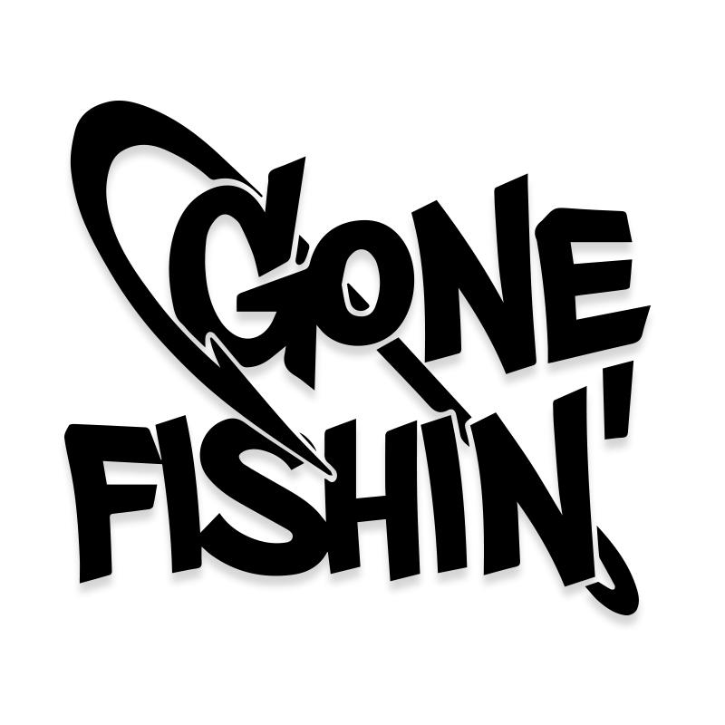 Gone Fishing Car Window Decal
