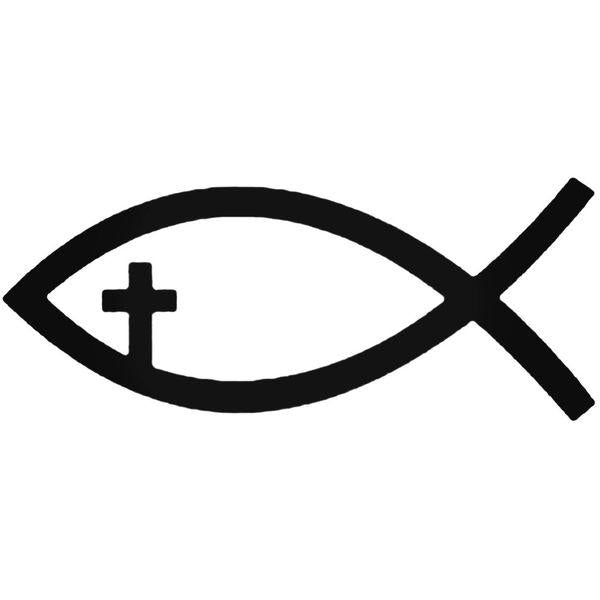 Jesus Fish Christian Cross Decal Sticker