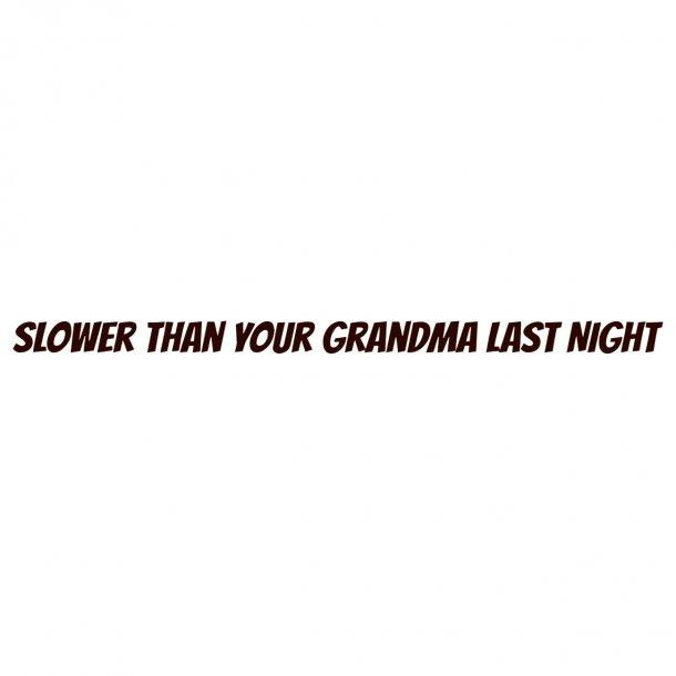 Slower Than Your Grandma Last Night Decal Sticker