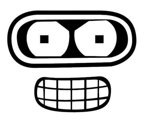 Television Cartoon Futurama Bender Face Decal Sticker