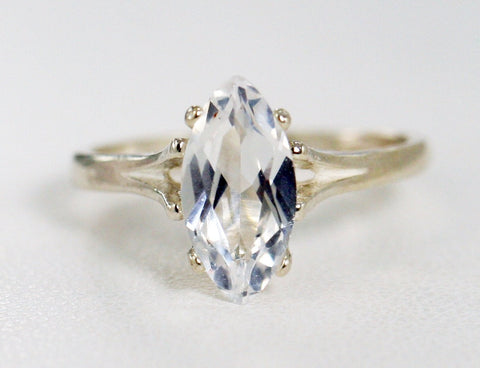 White Sapphire Marquis Solitaire Ring, 925 Sterling Silver, White Sapphire Marquis Ring, Sterling White Sapphire Ring,