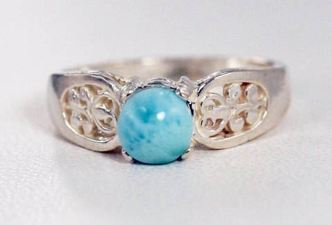 Larimar Filigree Ring Sterling Silver, Natural Larimar Ring, Sterling Silver Larimar Ring Dolphin Stone Ring, Atlantis Stone Ring