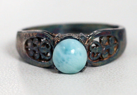 Oxidized Larimar Filigree Ring Sterling Silver, Natural Larimar Ring Oxidized Sterling Larimar Ring, Dolphin Stone Ring, 925 Atlantis Ring