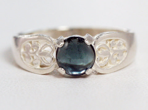 Steel Blue Tourmaline Filigree Ring Sterling Silver, Tourmaline Ring, Blue Tourmaline Ring, Sterling Tourmaline Ring, Sterling Ring
