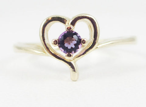 Amethyst Petite Heart Ring 14k Yellow Gold