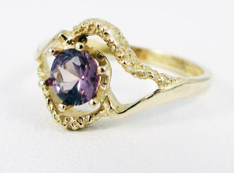 Alexandrite 14k Yellow Gold Textured Ring