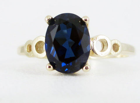 Blue Sapphire Oval 14k Yellow Gold Bubble Ring, September Birthstone Ring, Blue Sapphire Oval Ring, Solid 14 Karat Gold Ring, Bubble Ring