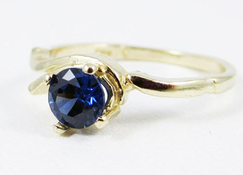 Blue Sapphire Swirl Ring 14k Yellow Gold, September Birthstone Ring, Solid 14 Karat Gold Ring, Blue Sapphire Ring, Yellow Gold Ring